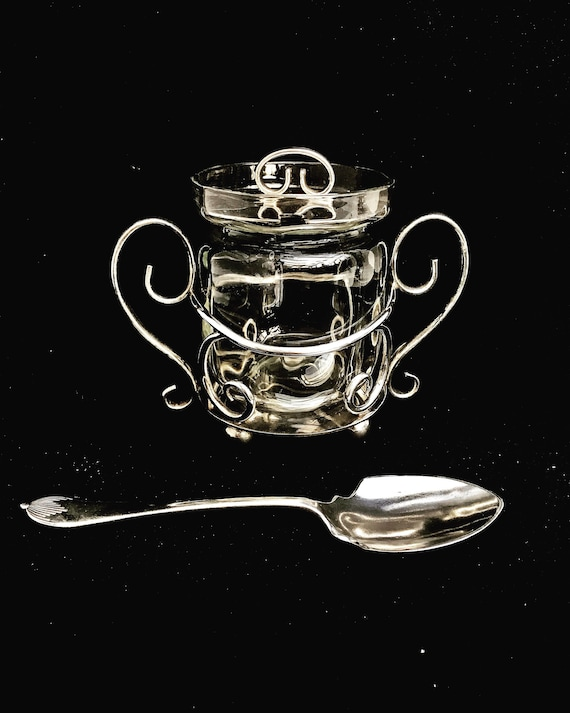 Mustard pot Jely jam sugar condiments Honey jar with spoon J.B. Chatterley & Sons Jam Jelly Sugar Condiment Server Glass Bowl Footed Handled