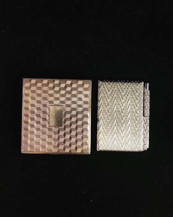 Cigarette case and Handbag Notebook Case Vintage with Propelling Pencil in Gold Tone Metal vintage 1960s  Metal Pocket Notepad