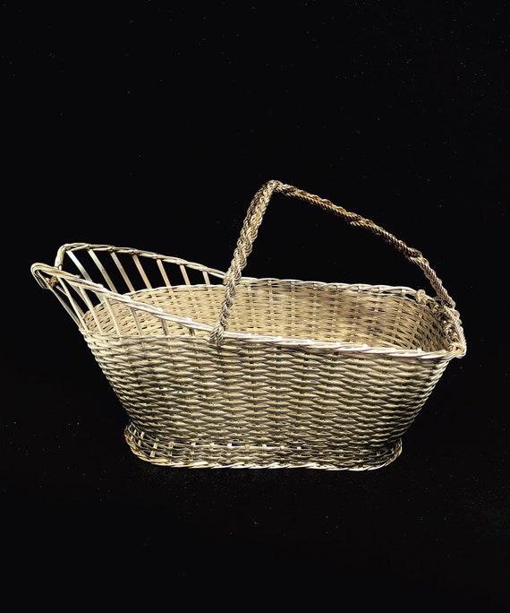 Wine Bottle Holder Vintage caddy Basket by Bruno Wiskemann Wine Carrier Tote, 20th Century Decor, Art Deco Vintage French  Bar Accessories