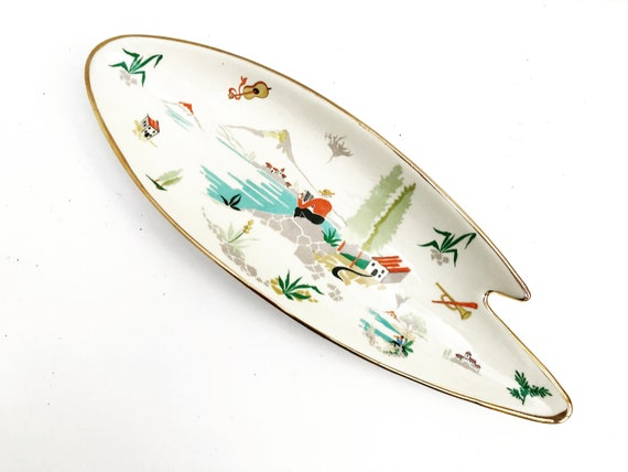 Decorative dish Vintage Mid Century Modern paint palette shaped hand painted 1950s plate made by  Boch Keramis with gold rim gift for him