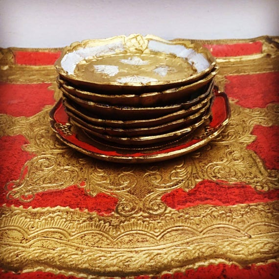 Tray Florentine  Italian Mid Century Hollywood Regency  6 coasters and under bottle ,Red Tray gold gilt ,6 coasters and alovely serving tray