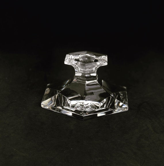 Candle holder, candlestick Art Deco Crystal 1930 Val St Lambert Signed  christmas table decor gift for her gift hostess