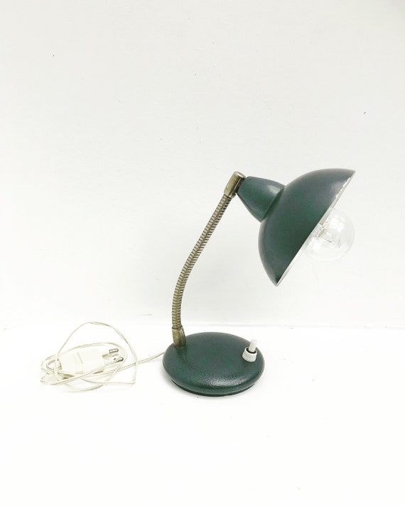 Table lamp Industrial  Mid Century small desk lamp goose neckvintage 40s 50s Italy adjustable table lamp flexible  Bauhaus Minimalist gift