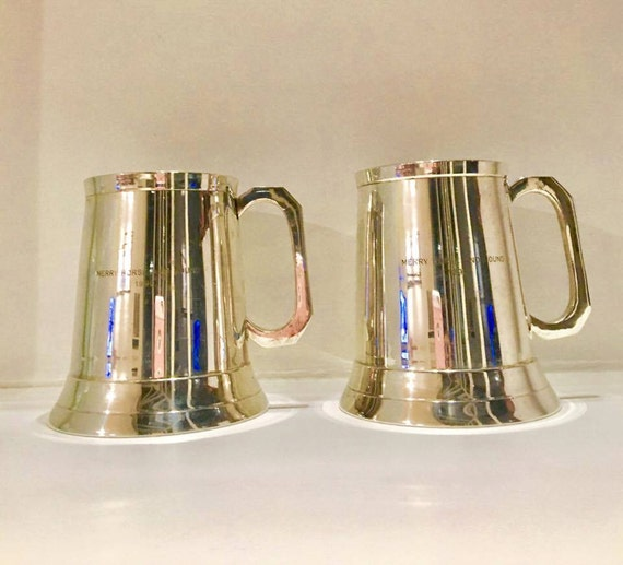 """Tankards large mugs Beer Mug  in silver plated metal, engraved """"Merry horse and hound"""" 1990. Trophies. Gift man, gift weddind, gift horse."""