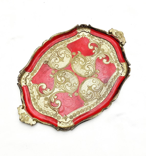 Florentine Golden rectangular Large Tray Red and Gilt, Old Italian Plateau, 60s tray  in Florentine Style. Handmade  Decorated