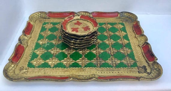 Vintage Florentine Tray Painted Gilt tray and Coasters Old Italian Platter, Gold Florentine Coasters  Hand made i decorated