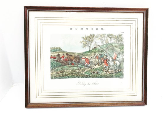 Framed English Fox Hunting J Harris After H.Alken Engraving PrintVintage Sporting Print Hunting, Hounds Fox Harriers Equine Decor lover gift