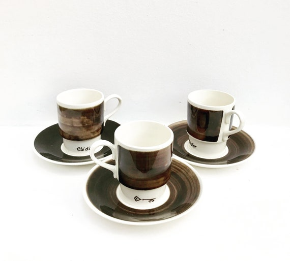 Coffee cup set brown Dutch Vintage Set 3 Stackable Tea Cup and Saucer  clé d'or by Petrus Regout Royal Sphinx Maastricht  60's 70's espresso
