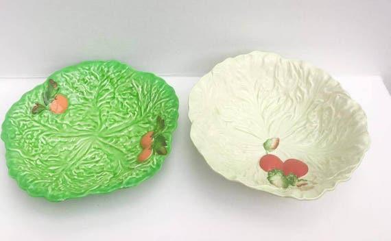Carltonware Cabbage Dish, Lettuce Plate, green Bowl Salad Plate, 2 Pieces  Green Decoration Tomato, English Collectors Antique China. Retro