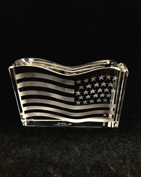 Crystal Paperweight American Flag , Val St Lambert for Tiffany & Co , by Val St Lambert, Belgium 1940s, Desk Accessories, Gift for him