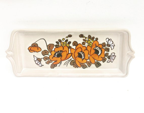 Vallauris 70s orange flower tray, rectangular hand painted platter Mid Century French Pottery Plate 1970s Ceramic beige MCM Serving tray