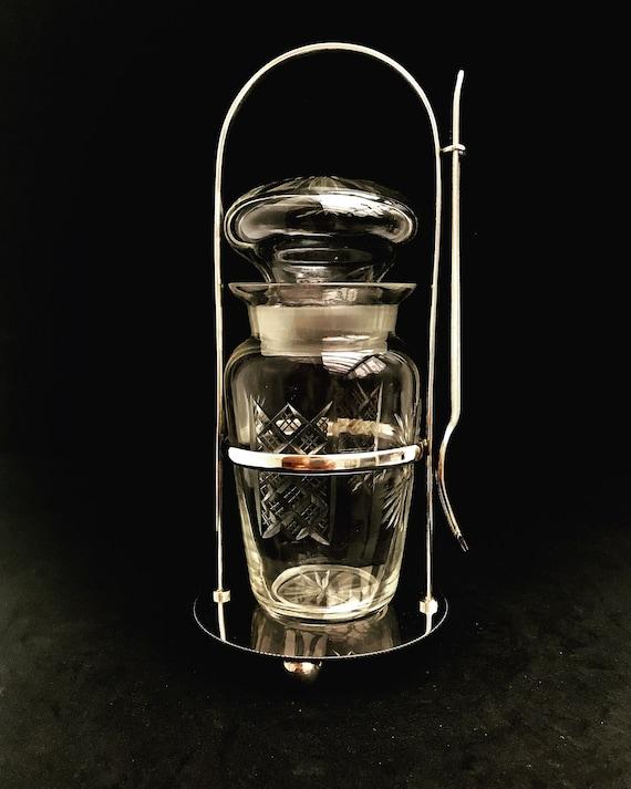 Pickles jar cut crystal silver plated English castor fork 1890s 1900s Table Cruet Pickle Jar Caddy Glass Bottle on Stand Fruit Fork Handle