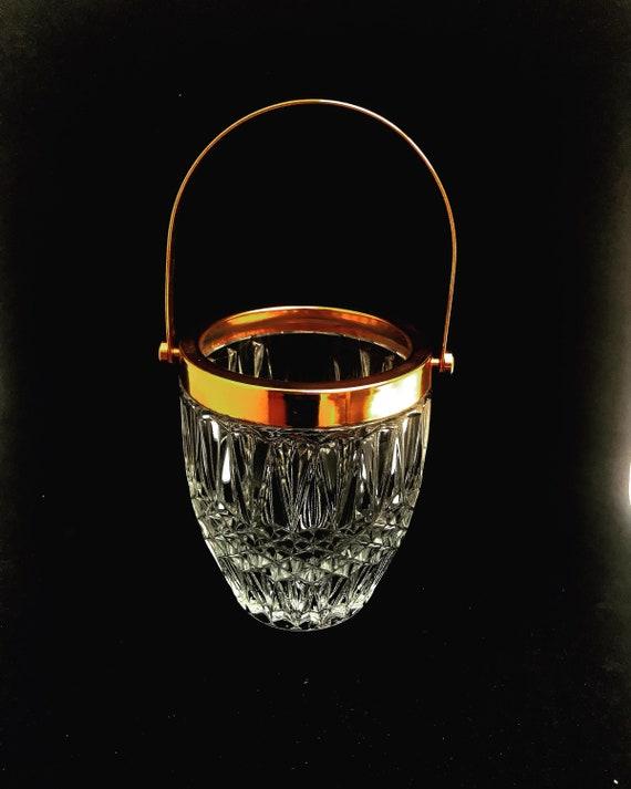 Ice bucket vintage heavy crystal ice bucket golden handle  50s. Carved, bar accessories, mid century modern, vintage bar, cocktails.