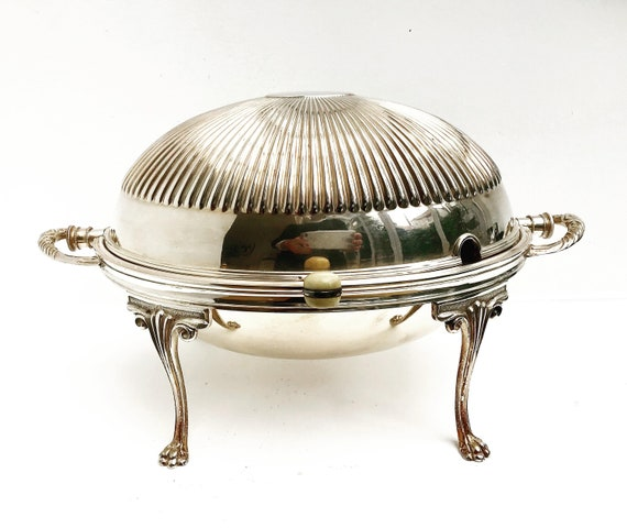 Victorian Silver Plated Breakfast Dish revolving dome warming plate tureen Domed Serving Dish on Stand buffet server plate  oval entree dish