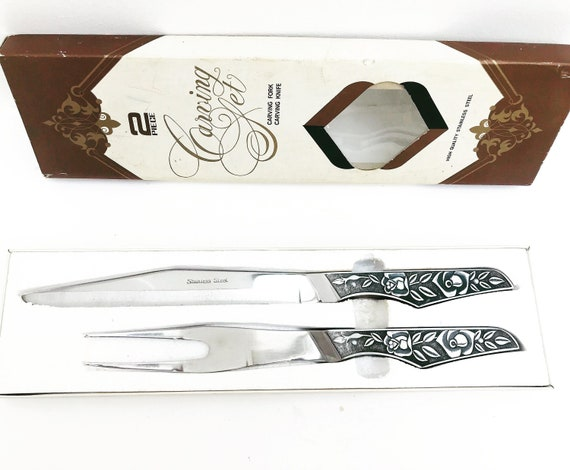 Carving Knife Fork set Japan 60s Steel carving set Collectible Flatware Retro Cutlery barbecue tools garden dinner Sharp Serving tool roses