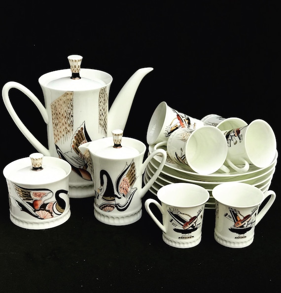 Imperial Porcelain Lomonosov Russian Coffee set collection gift collector cups creamer sugar bowl wedding gift swan musical instruments