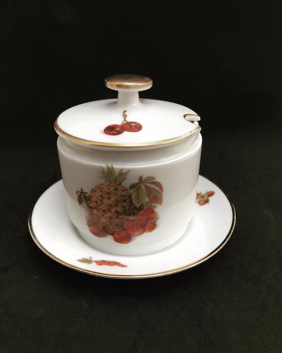Jam pot Sugar bowl with lid Alka-Kunst Alboth and Kaiser Fruits gold Porcelain bowl Vintage  Jelly Sugar Mustard Condiment Jar 1960s