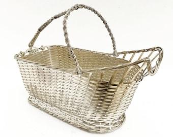 Christofle Wine Bottle Holder, Vintage caddy Basket, Wine Carrier Tote, 20th Century Decor, Art Deco, Vintage French,  Bar Accessories