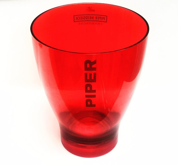 Champagne bucket red acrylic plastic Piper-Heidsieck French wine cooler garden party bucket gift  hostess picnic Outdoors gift for friend