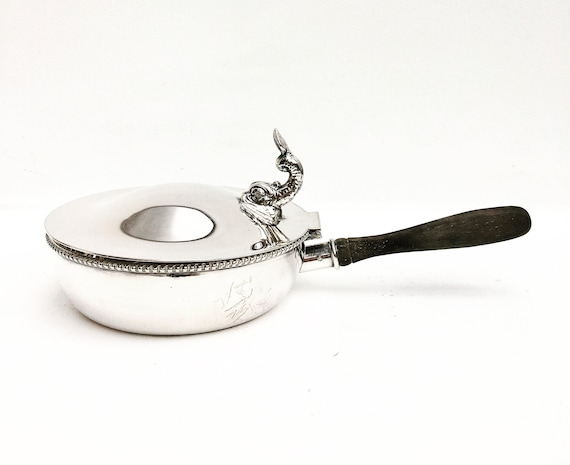Silent Butler Crumb Catcher with Wooden Handle Lidded Fish on top Silver plated and teak  Crumb Catcher Lidded  Alpaca dinner table 1940s