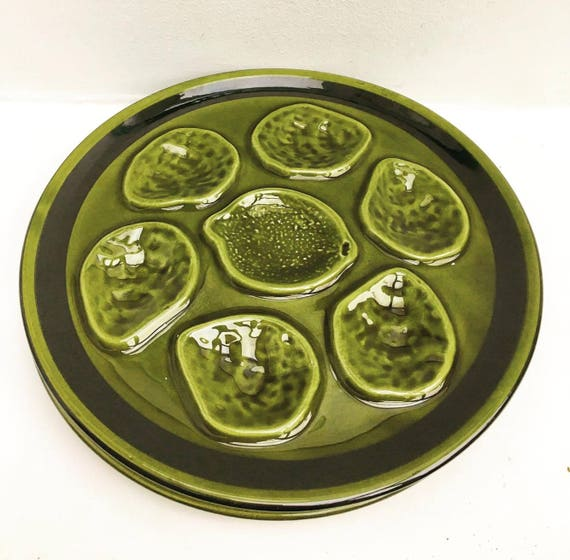 2 Green Oyster plate Niderviller earthenware from the 50s oyster plate oyster dish collector oyster collection Wedding gift, French pottery