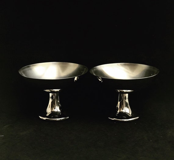 Alessi Ice Cream Bowls Cups Set 2 designed by Carlo Alessi 1940s Stainless Steel Vintage sorbet Dessert Bowl, gift for couple Italian design