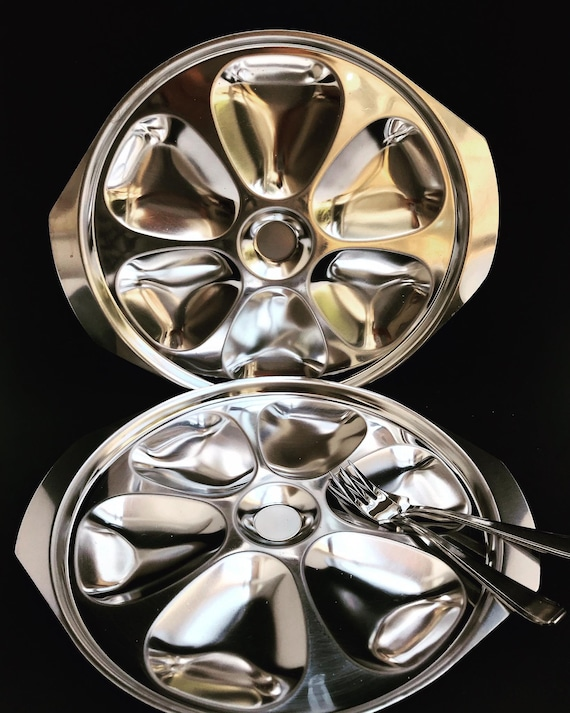 2 Oyster Plates Stainless Steel Oysters Plate 2 forks  beautiful vintage unusual  60s forks collector dish   seafood dishes
