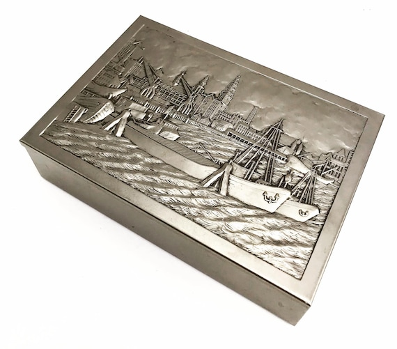 Vintage metal box Wooden Tin Trinked Box with embossed hinged metal lid depicting Port  Scene made in The Netherlands  Circa 1960/70s