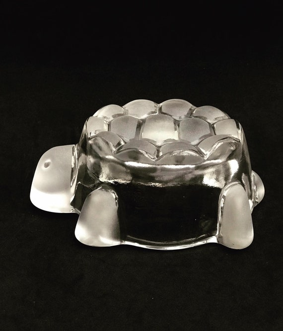 Walther Glas Turtle Tortoise Small Candy Dish Bowl Vtg Germany Glass dessert bowl  with transparent bubbles, vintage 60s, snack bowl