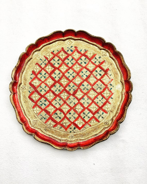 Florentine Large Round Tray,  Red and Gilt, Old Italian Plateau,  in Florentine Style. Handmade in Wood Decorated with antique painted