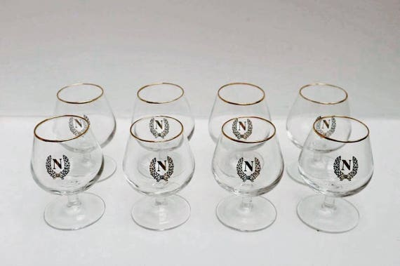 """Cognac Glasses Napoleon,  Vintage French Cognac Brandy Monogramed Glasses """"Napoleon"""", Glasses, Bistro, Man Cave, Digestive, French Country"""