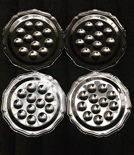 French Escargot plates set Snail Serving Set 4 Stainless Steel Plates, by Guy Degrenne