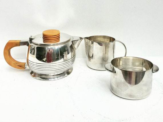 Art Deco Tea set, Elkington & Co Cardinal Plate silver plated Vintage 1920s  butterscotch bakelite handles tea pot, creamer sugar bowl 1920