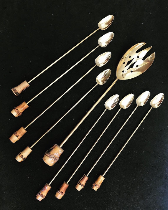 Bar Stirrers spoons Cocktail Champagne Sticks Set of 8 Gold Plated Bar Tools Bar Cart Accessories bartender mixing tools gift for him