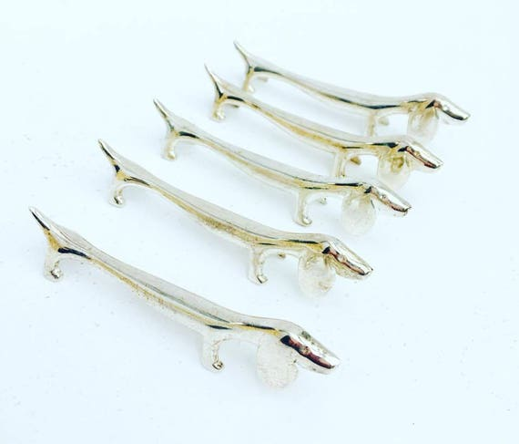 Knife Reste 6 Knife Holders, Silver Plated Metal, Dachshund  Set of 6. Dinner table, party table, dog shape, dog lovers elegant table