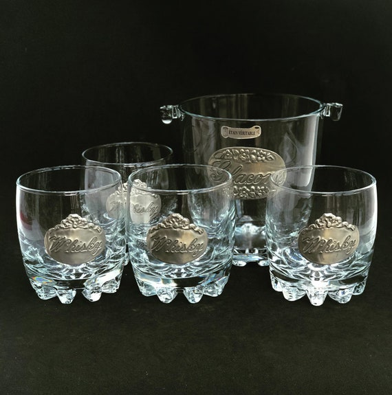 Whisky Glass Couple gift set of 4 heavy Glass Pewter with ice bucket made in blown glass Scotch Drink Glasses Whiskey Bourbon Vintage