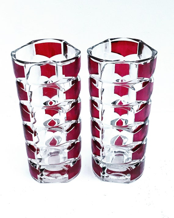 Pair Vases Luminarc France Murano style Pink violet J.G. Durand Geometric Ruby Red Purple Amethyst Murano Style Flower Art Glass Geometric