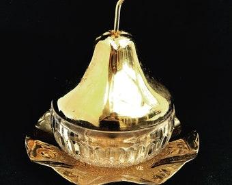 Sugar bowl with lid Jam Pot Preserve pot individual ice bucket pear shaped candy dish jar cristal golden metal wedding gift bar decor 1970s