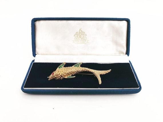 Vintage Brooch Fish Locket Pin, Rhinestones, Jewelry Vintage Owl Brooch vintage pin rhinestone antique figural brooch gift for her girl