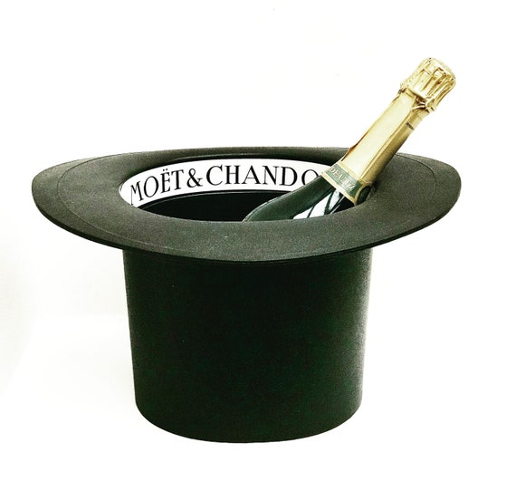 Champagne ice bucket Moet and Chandon French Vintage 80s Hat shaped Wine Cooler large rigid plastic bar cart garden bar drinks barware gift