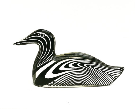 Abraham Palatnik lucite animal figurine acrylic duck Kinetic Op Art sculpture  Mid century Brazil gift for her Modernist collector gift