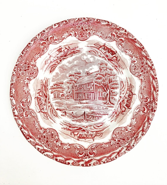 Red Transferware Vintage Grindley English Country Inns Side Plate salad English country