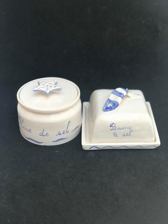 Butter dish with lid and salt covered box handmade blue and white decor Salt butter Fleur de sel Glazed Earthenware fish  Kitchen coast