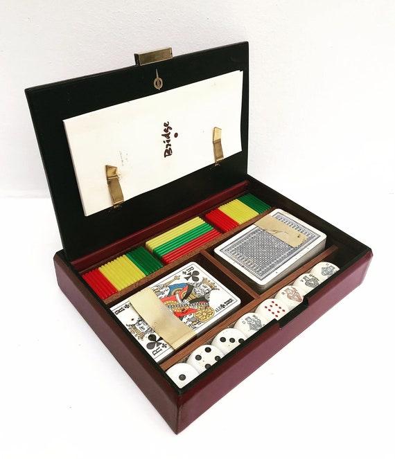 Vintage playing cards box leather Longchamp Bridge Set Canasta Set two Decks Playing Cards Display Poker dices card Box Player Bridge set