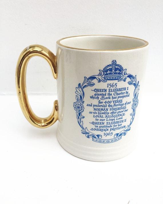 Queen Elizabeth II large Mug Royal Monarch Commemorative Tankard antiques 1565 1965 Queen Elisabeth ceramic stein beer mug gold handle