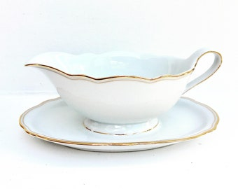 Gravy Boat  Vintage White Gold Bavaria Schirnding Porcelain Mid Century German Porcelain Sauce Boat China Replacement Classical Table 1960s