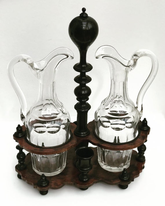 Oil and Vinegar Holder French Antique Tableware Napoleon III Condiment Tray Cruet set wooden crystal antique table decor Gift for collector