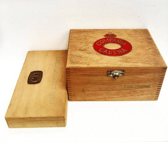Cigar Box Vintage, cigar case,  Set of 2 boxes, wooden cigar box, wood  box, empty box, Commodore, Senator, wood cigar box, tobacco