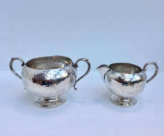 Creamer and Two Handled Sugar Bowl, each with Hammered Finish, J.B. CHATTERLEY & SONS LTD Birmingham England, Art Dco Style