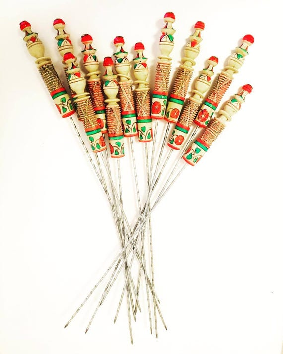 Vintage French Metal and Wood Skewers, Long Barbecue Skewers Sweet Stick Candy Kebab Meat Skewers Arrangement Candy Buffet Decor Grill Tool,